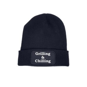 beanie blauw grilling and chilling